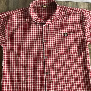 Lowrider Button Up Shirt Adult Large Red White A13